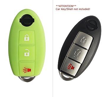 Funda de silicona de CK+ para llave de Nissan Qashqai X-Trail. Funda sin llave, con 3 botones verde
