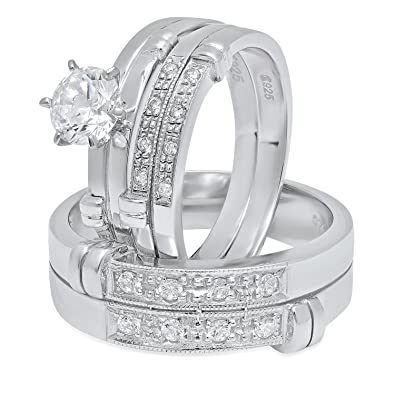 Cleaning Cloth His /& Hers Sterling Silver Italian Crafted CZ Accented Baroque 3-Piece Wedding Ring Set