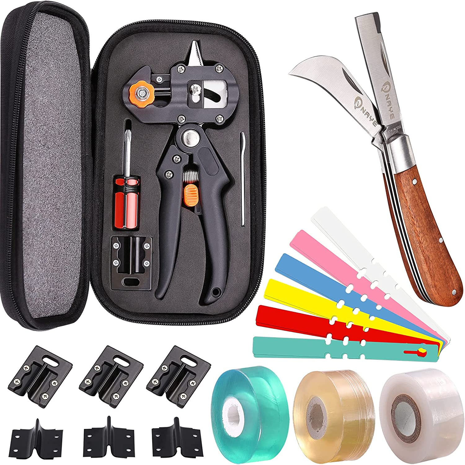NAYE 2 in 1 Garden Grafting Tool Kit for Fruit Trees with Grafting Knife Grafting Tapes,Extra Replacement Blades Included