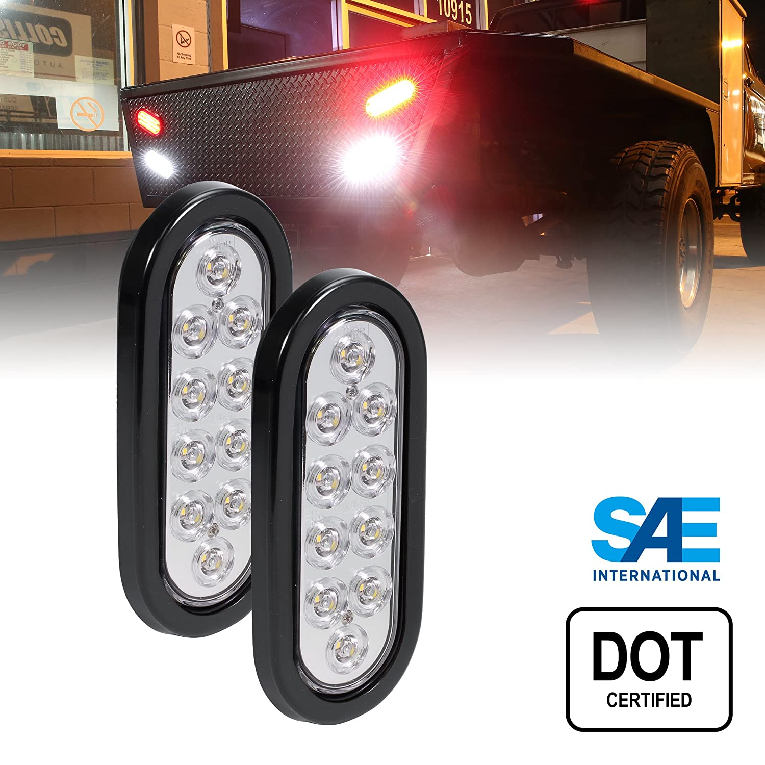 DOT Certified Grommet /& Plug Included IP67 Waterproof 4pc 6 Oval Amber LED Trailer Tail Lights Park Turn Trailer Lights for RV Jeep Trucks
