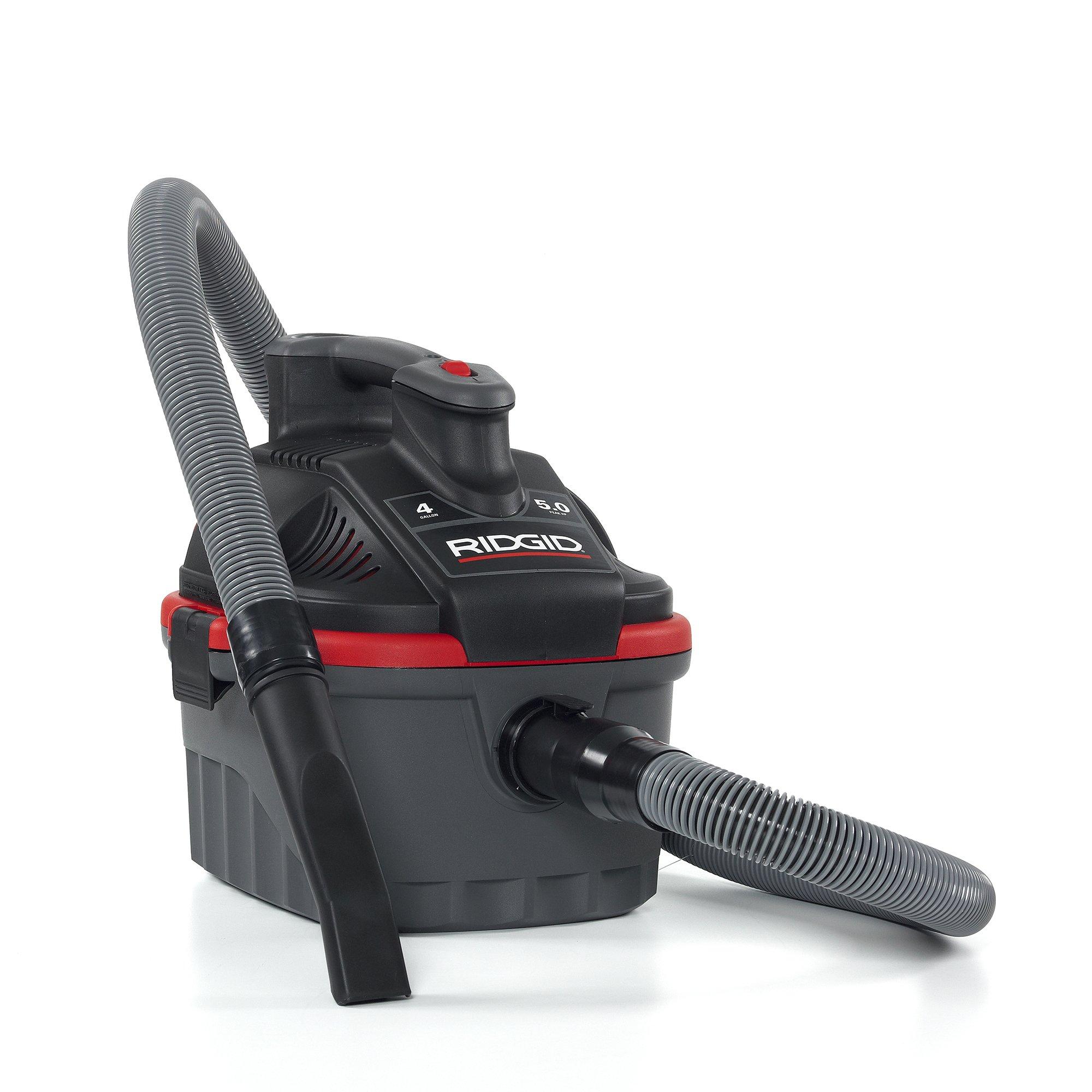 RIDGID 50313 4000RV Portable Wet Dry Vacuum, 4-Gallon Small Wet Dry Vac with 5.0 Peak HP Motor, Pro Hose, Ergonomic Handle, Cord Wrap, Blower Port by Ridgid (Image #3)