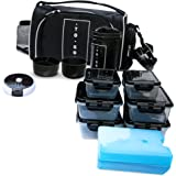 Meal Prep Bag By TO GO Insulated Lunch Meals Bag W/6 Portion Control Containers,2 ICE PACKS, Shaker, Pill Box,With an Adjustable shoulder. bag for meals … (Black)