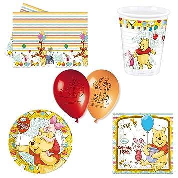 Kit Decoration Anniversaire Winnie L Ourson Pour 8 Amazon Fr Jeux