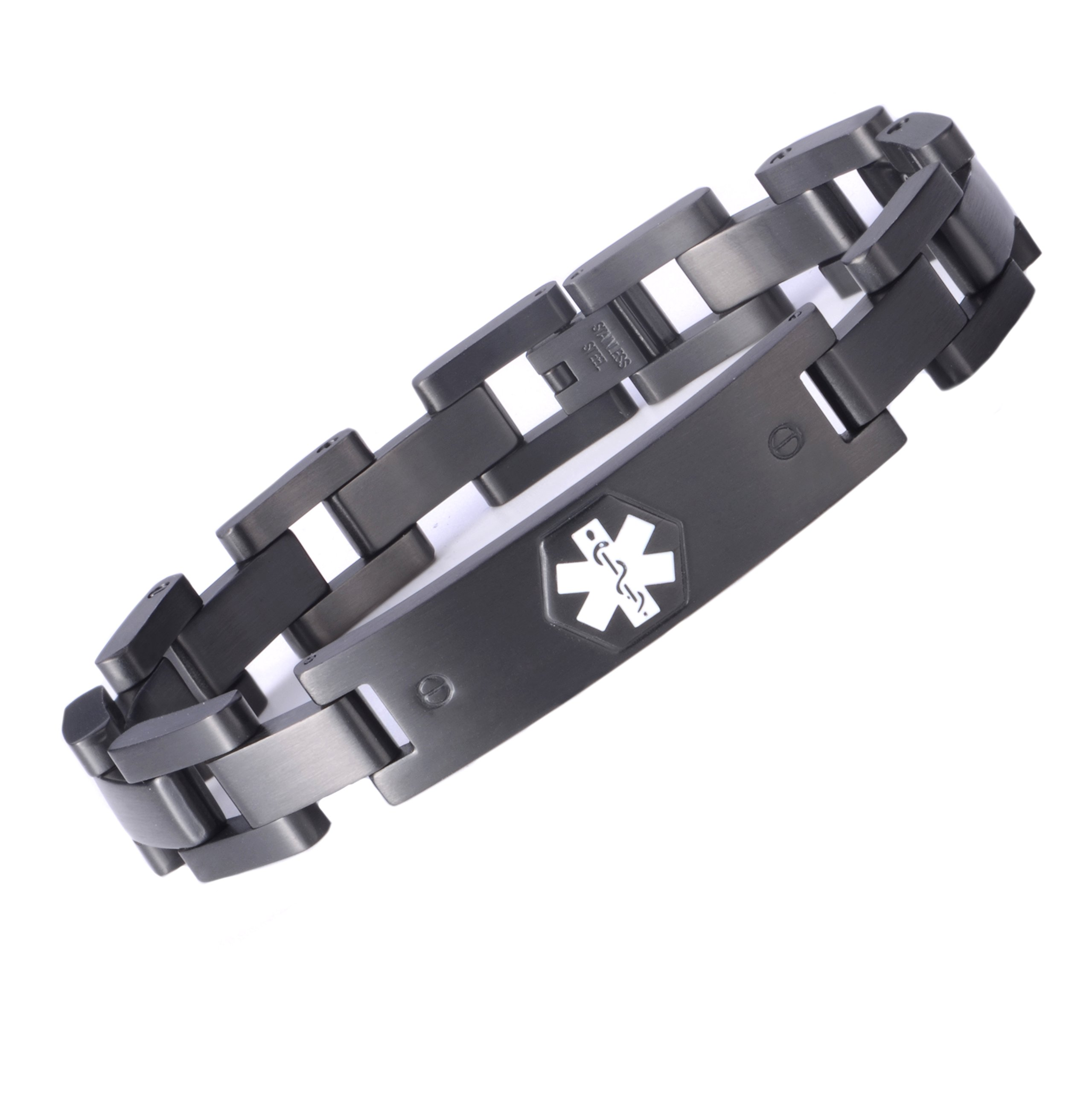 Tarring The military style medical id bracelet jewelry for men and women(BLACK)(8.5)