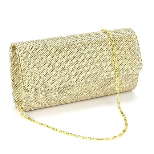 Anladia@ Cartera de Fiesta con Glitter tartan Bolso de Mano con cadena 120cm Color Dorado Claro: Amazon.es: Zapatos y complementos