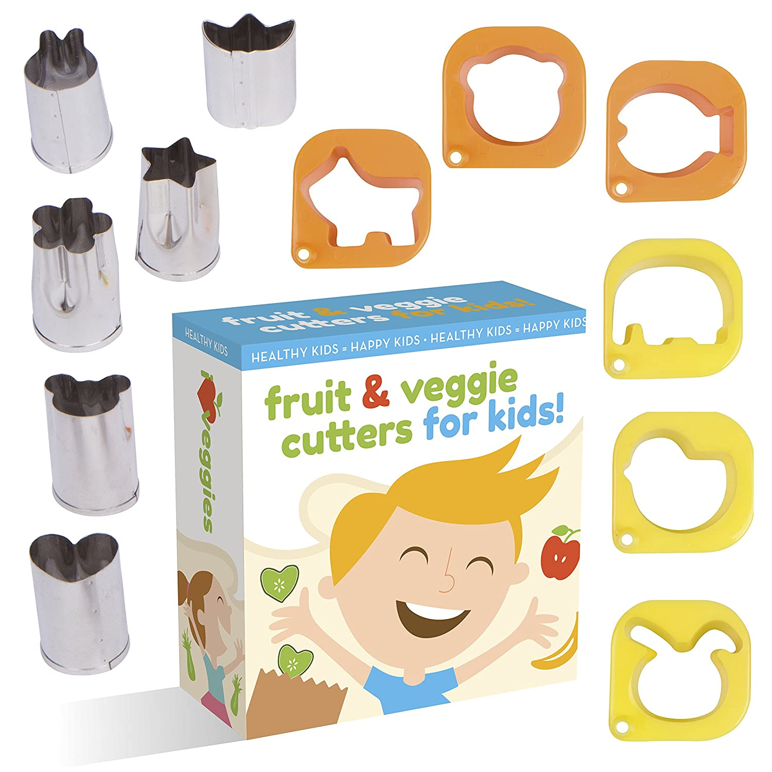 Fruit And Vegetable Cutter shape set For Kids By UpChefs - 12 Animal and Fun Shaped Mini cookie Cutter Mold Food Cutouts for Bento Lunch Boxes - Fruit & Veggie slicer press Stamp set for picky Eaters 19781981