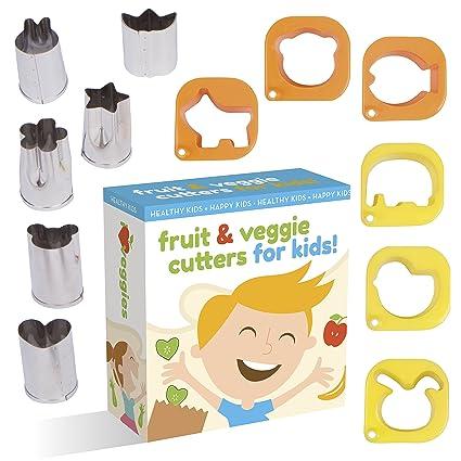Cortador de frutas y hortalizas forma Set para niños por upchefs – 12 animales y divertido