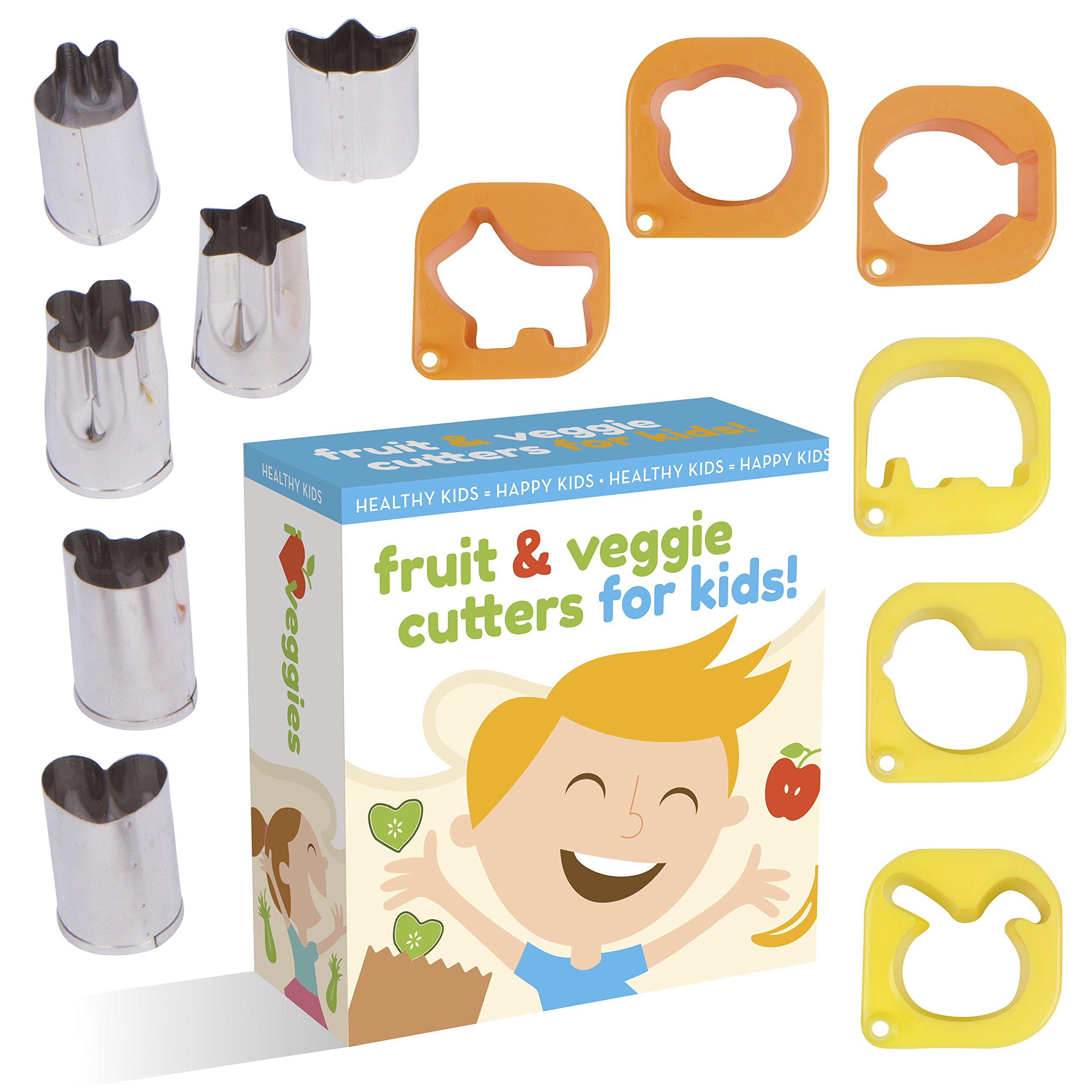Fruit And Vegetable Cutter shape set For Kids By UpChefs - 12 Animal and Fun Shaped Mini cookie Cutter Mold Food Cutouts for Bento Lunch Boxes - Fruit & Veggie slicer press Stamp set for picky Eaters