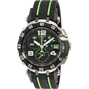 Tissot Mens T-Race Stainless Steel Swiss-Quartz Watch with Rubber Strap, Multi