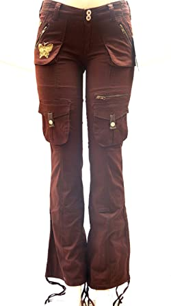 BLUE POINTE JEANS Juniors Womens Stretch premium BROWN cargo pants ...