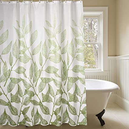 Mildew Resistant Fabric Shower Curtain Leaves Decorations Bathroom Curtains 100 Waterproof Antibacterial Machine
