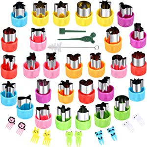 KECUCO 29 Pcs Mini Vegetable Cutter Shapes Set, Mini Cookie Cutters Set, Stainless Steel Mini Fruit Cookie Pastry Stamps Mold for Kids, Baking and Food Supplement Tools Accessories(29pcs)