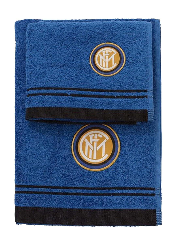 Inter 8907 020 2120 Set Asciugamano e Ospite in Spugna, 100% Cotone, Nero/Azzurro, 100 x 60 x 1 cm hermet