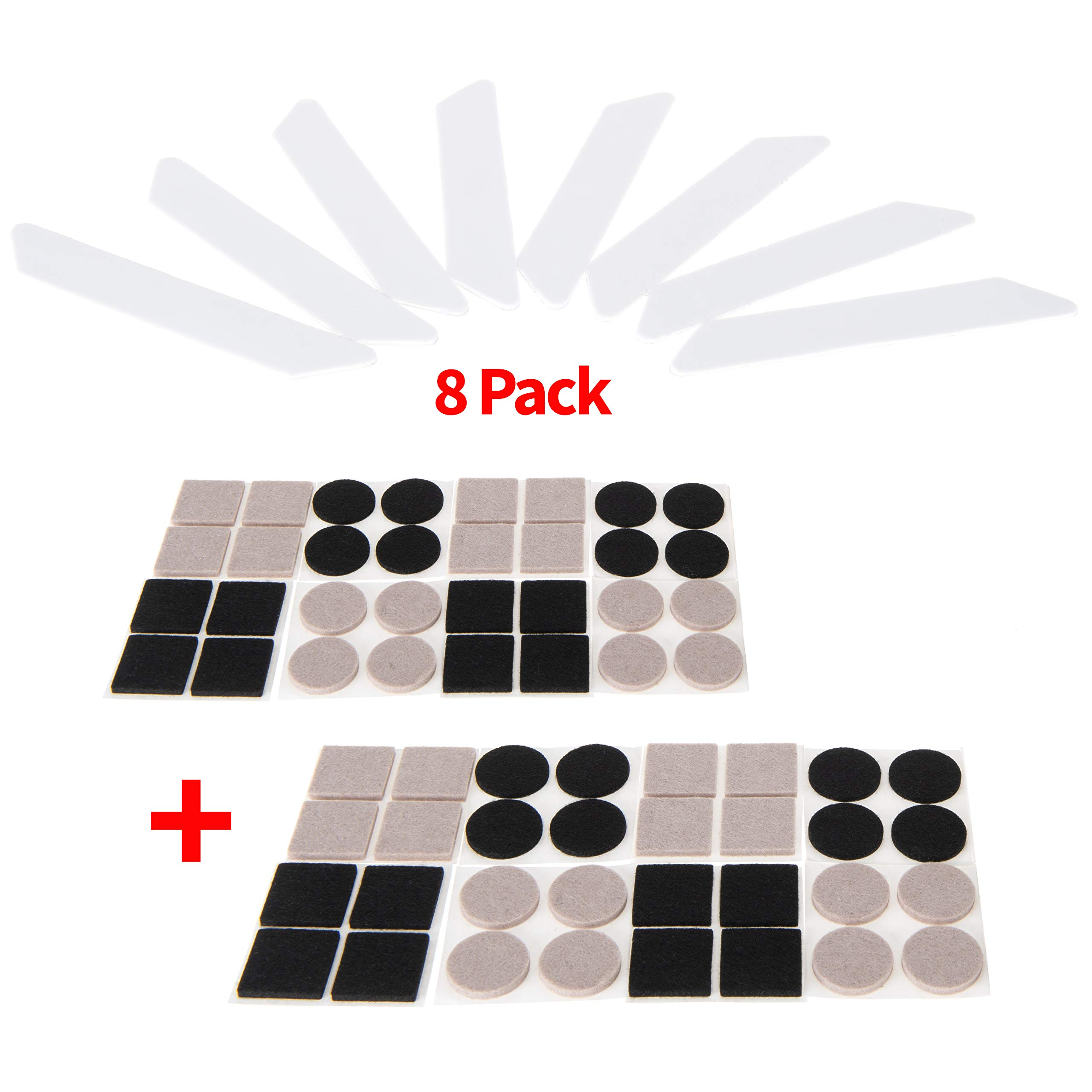 DKST Kitchen Rug Grippers Pad Set - 8 Pcs Non Slip Anti Curl Pack BONUS Felt Furniture Pads Set Protectors for Hardwood Floors. Use Double Sided Tape on Area Rugs & Sliders on Chair and Table Legs