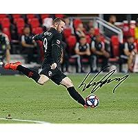 "$97 » Wayne Rooney D.C. United Autographed 16"" x 20"" Black Jersey Kicking Photograph - Fanatics Authentic Certified"