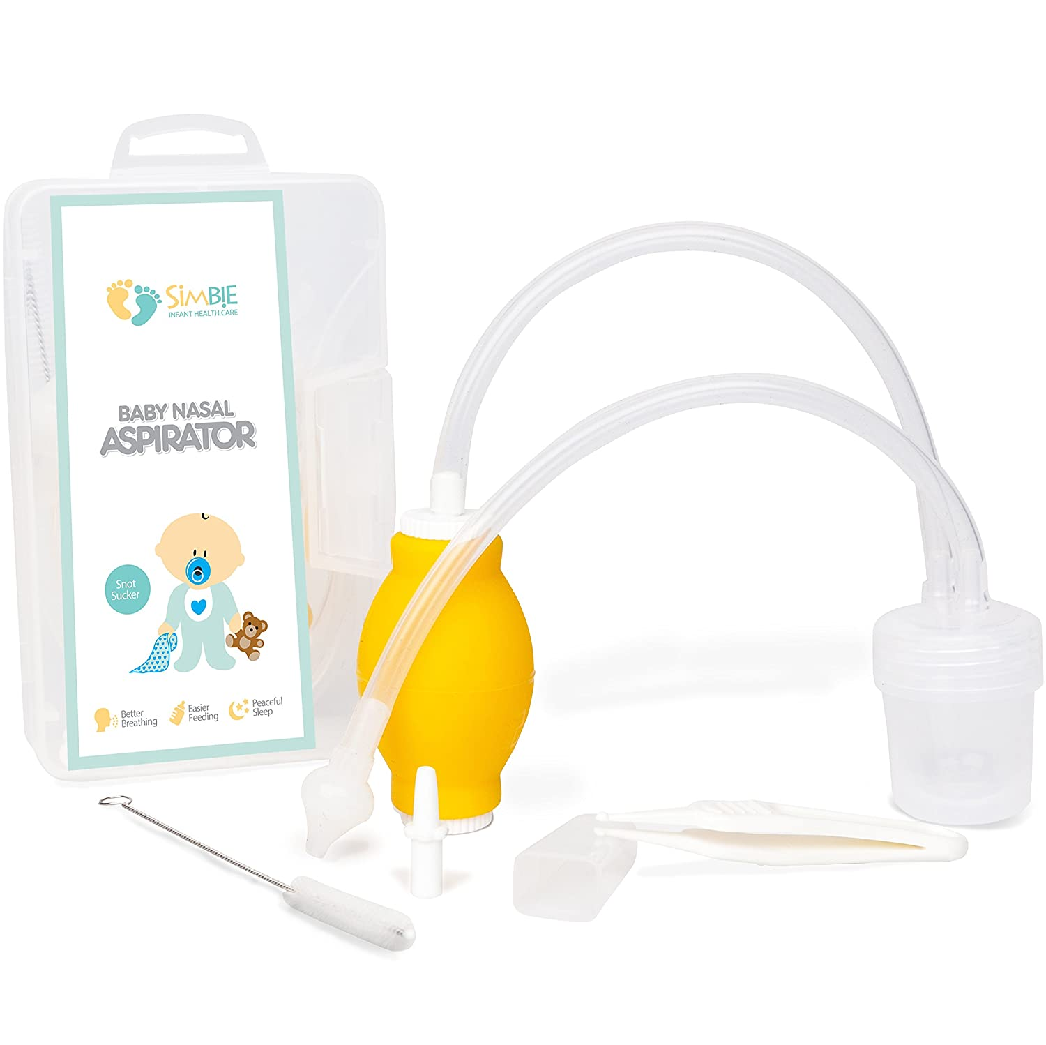 Essential Baby Nose Cleaning Kit - Noncontiguous Nasal Aspirator for Moms- Safe & Gentle Snot Sucker – for Deep Sleep and Clear Breathing from Cold & Flu- With Reusable Storage Case & Cleaning Brush Simbie HEBE0753