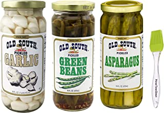 product image for Old South Pickled Garlic & Green Beans & Pickled Asparagus 16 oz Jars (Pack of 3) Bundled with PrimeTime Direct Silicone Basting Brush in a PTD Sealed Bag