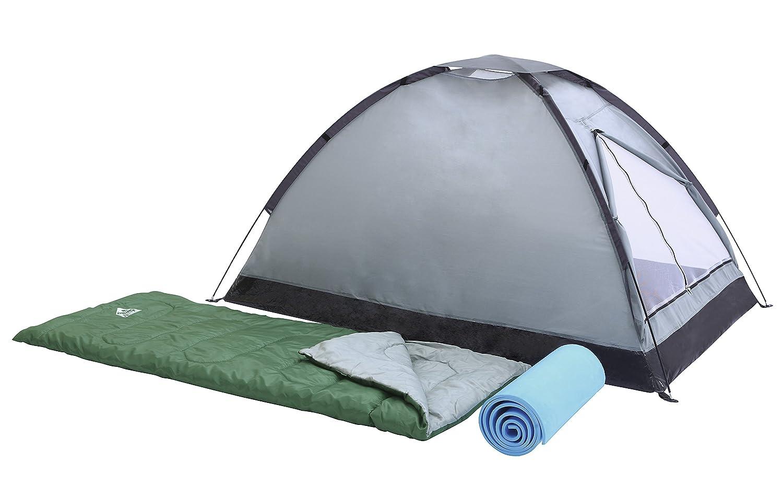 Bestway Campak - Set tienda de campañ a para 2 personas, montaje varillas, 2 sacos de dormir, 2 suelos aislantes, bolsa de transporte 68000