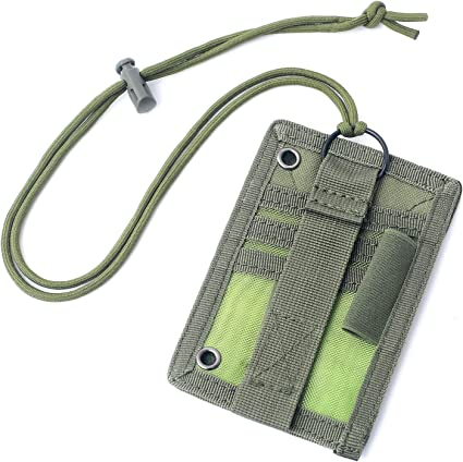 Credit/Card/Organizer Portable Size Tactical ID Card Holder Hook /& Loop Patch Badge Holder Neck Lanyard Key Ring and Credit Card Organizer
