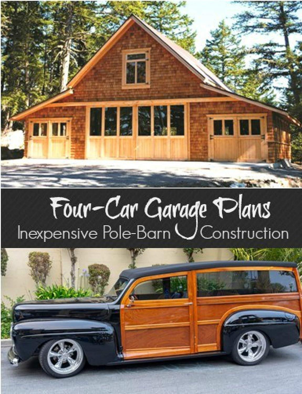 Amazon Com Four Car Garage Plans With Lofts 3 Different Sets Of Economical Pole Barn Plans Industrial Scientific