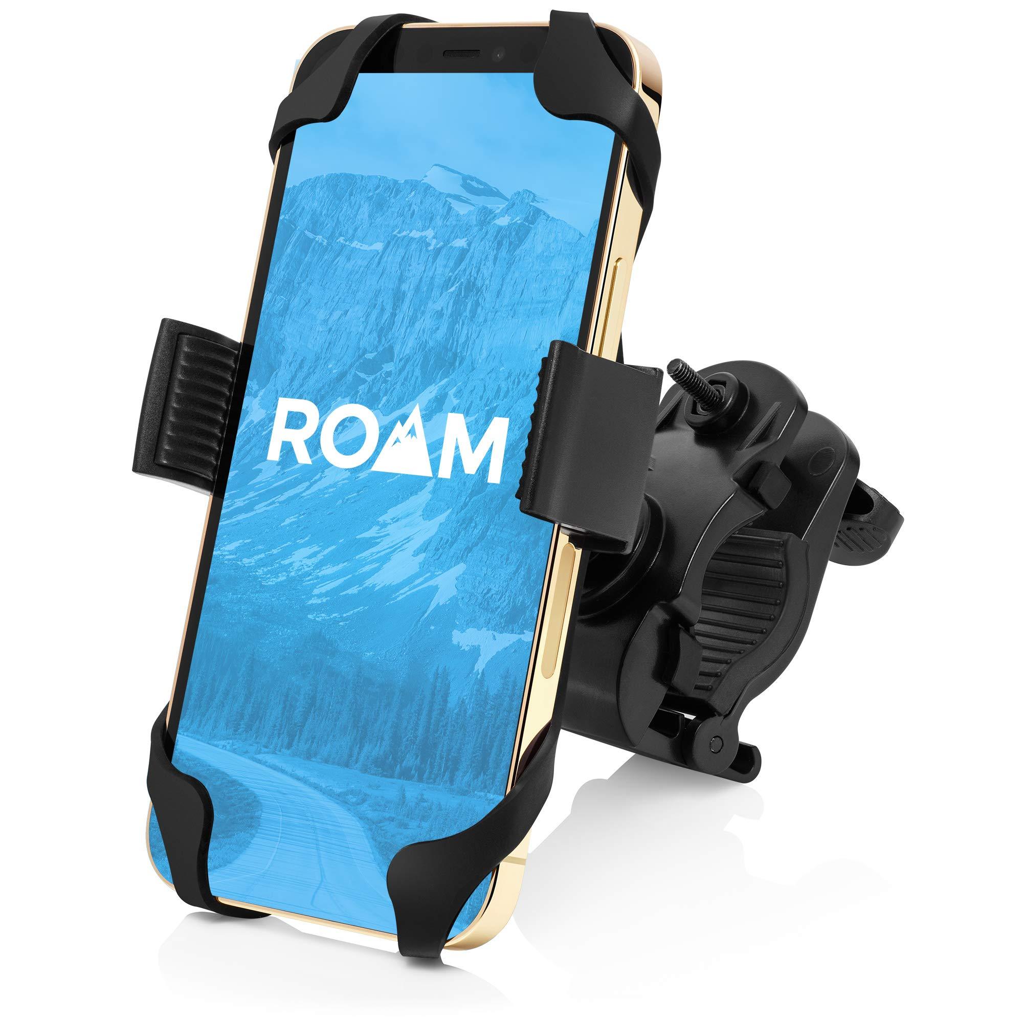 "Roam Universal Premium Bike Phone Mount for Motorcycle - Bike Handlebars, Adjustable, Fits iPhone 7 | 7 Plus, 8 | 8 Plus, iPhone 6s | 6s Plus, Galaxy S7, S6, S5, Holds Phones Up to 3.5"" Wide"