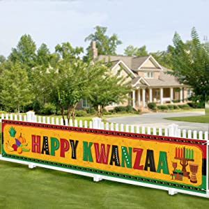 Happy Kwanzaa Banner African Heritage Holiday Party Decor Joyous Kwanzaa Photo Props Background Indoor Outdoor Decoration Kwanzaa Welcome Sign Party Supplies