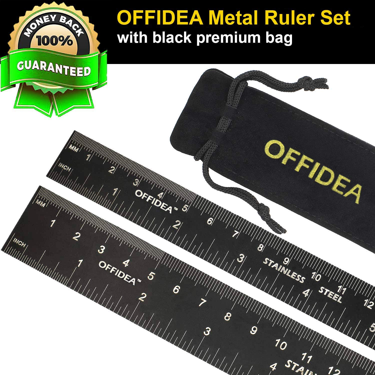 Offidea Steel Ruler 12 Inch and Steel Ruler 6 Inch Set Conversion Tables Metal Rulers with 1//16 and 1//32 Inch Imperial and 1mm and .5mm Metric High Contrast Scales Ideal for School and Office