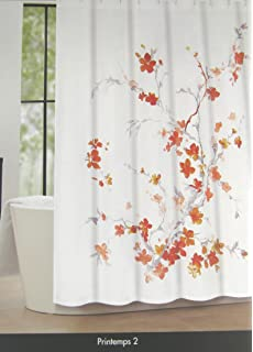 Tahari Home Luxurious Fabric Shower Curtain Printemps 2 Coral Yellow Gray On White