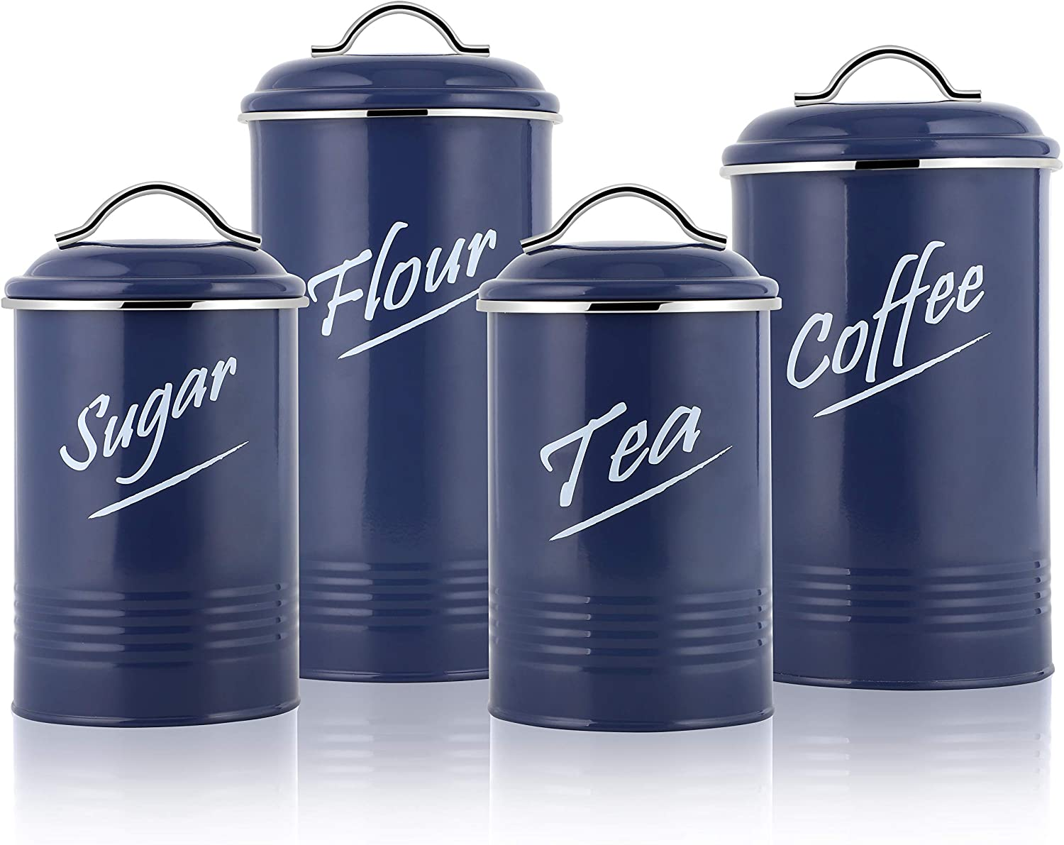 Hillbond Food Storage Canisters Containers: Carbon Steel with Blue Powder Coated Decorative Storage Jars Set of 4