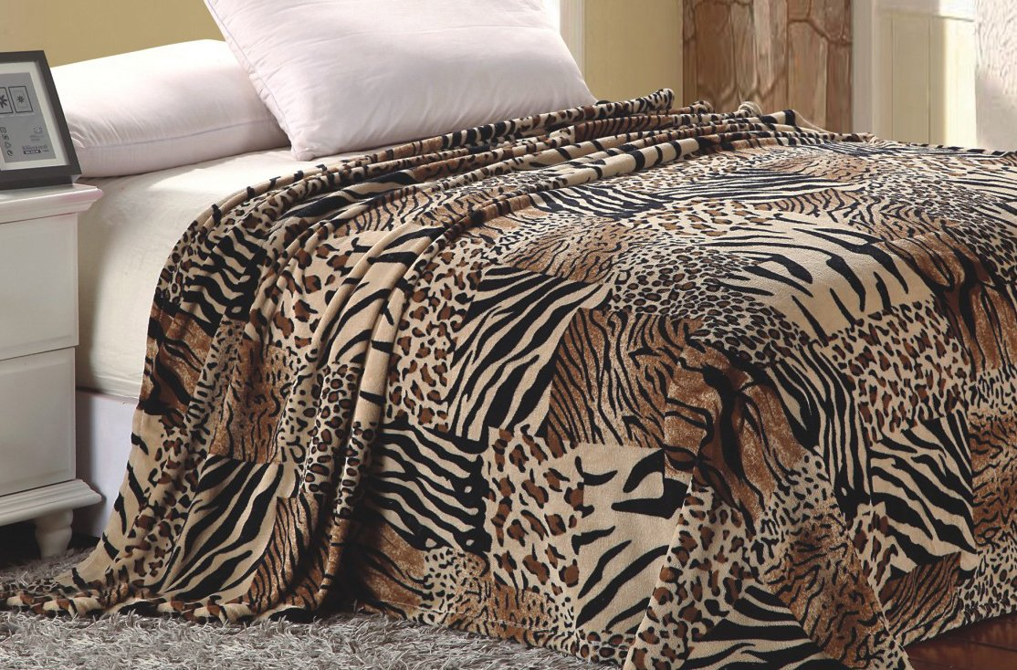 Super Soft Polyester Microplush African Safari Animal Skin Print Blanket - Queen