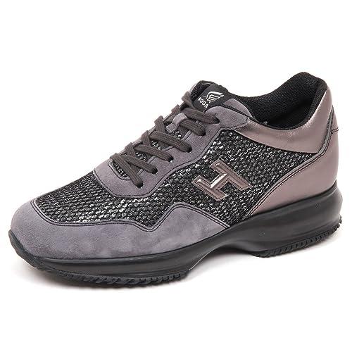 72aa4251fbe5d Hogan E4552 Sneaker Donna Grey Interactive Scarpe H 3D Paillettes Shoe  Woman  35
