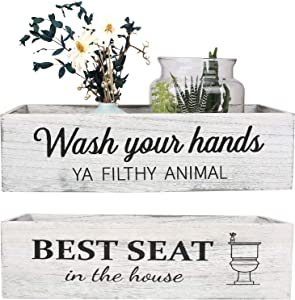 CuffUp Bathroom Decor Box,2 Sides of Funny Signs Farmhouse Bathroom Decor Toilet Paper Holder Rustic Farmhouse Home Decor for Livingroom Kitchen,Counter Table Decor,Wash Your Hands Ya Filthy Animal