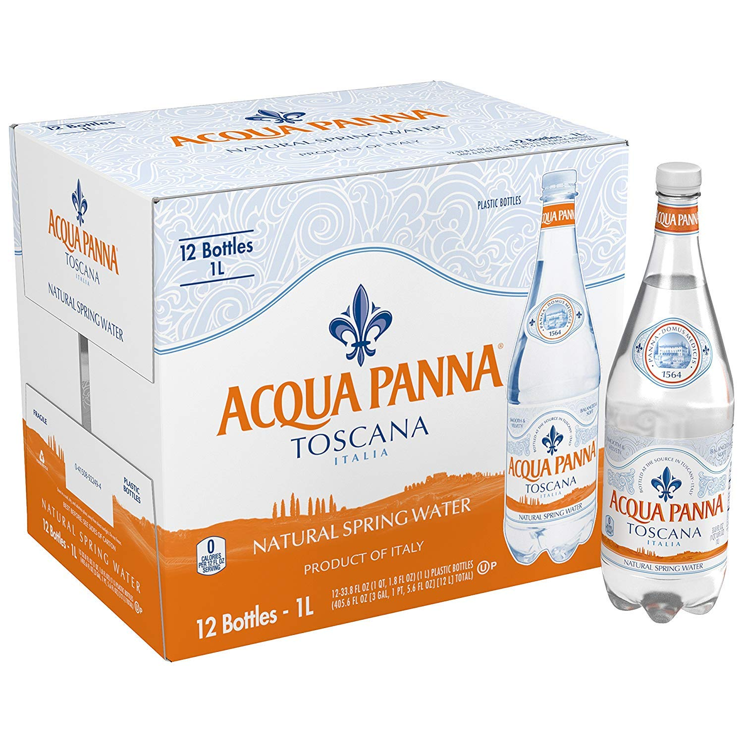 Acqua Panna sgdfg Natural Spring Water, 33.8-Ounce Plastic Bottles (Pack of 12) 2 Cases