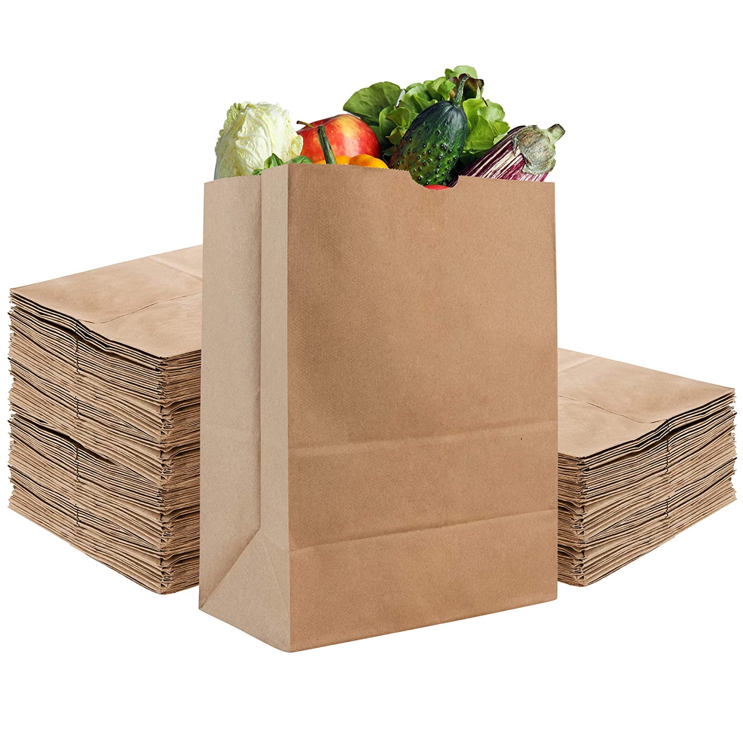 Stock Your Home 52 Lb Kraft Brown Paper Bags (100 Count) - Kraft Brown Paper Grocery Bags Bulk - Large Paper Bags for Grocery Shopping