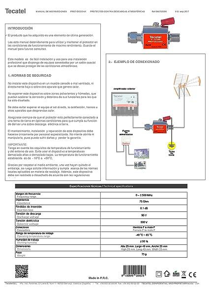 Tecatel - Protector contra descargas atmosféricas para Cable coaxial: Amazon.es: Electrónica
