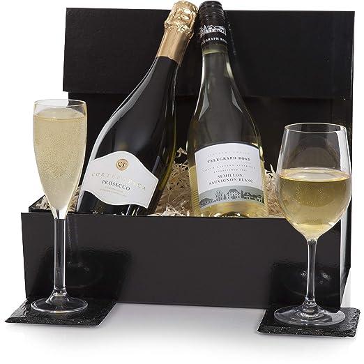 Luxury Prosecco White Wine Gift Duo Hamper Presented In A Gift Box Wine Hampers