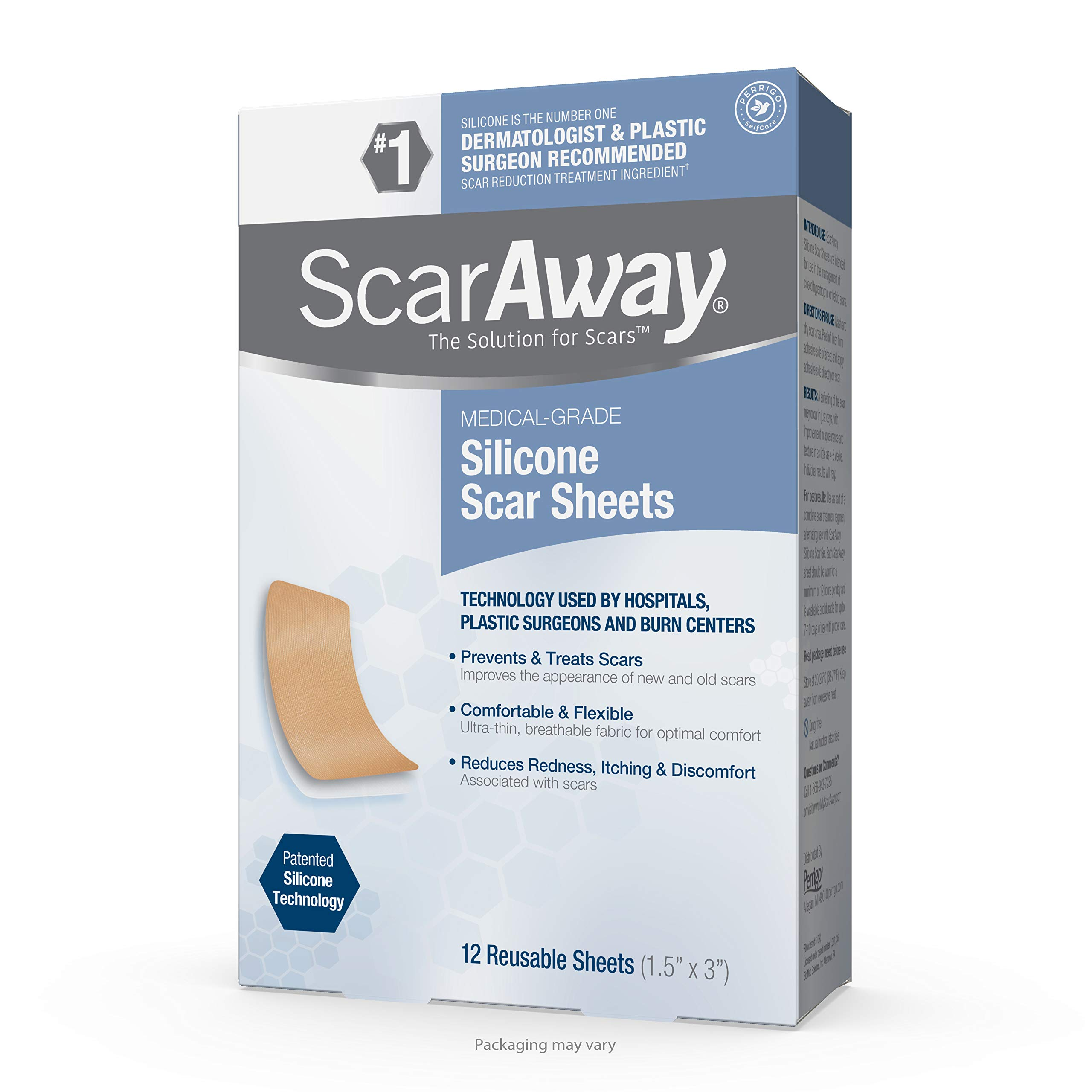 ScarAway Advanced Skincare Silicone Scar Sheets, Silicone Scar Sheets for Body Scar, Surgical Scar, Burn Scar, Acne Scar and Keloid Scar Treatment, 12 Sheets