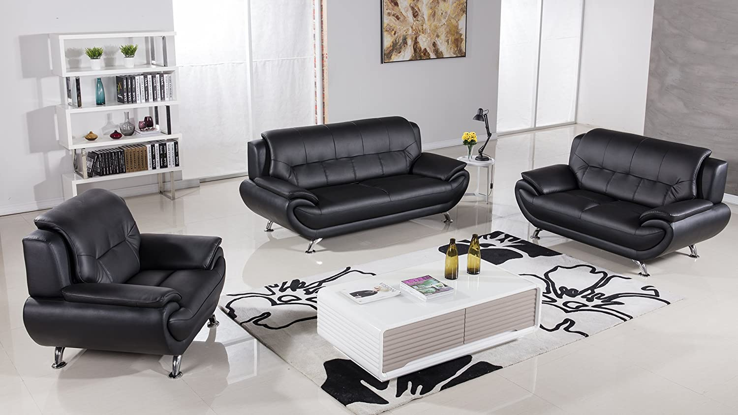 Amazon com american eagle furniture highland complete 3 piece living room leather sofa set black kitchen dining