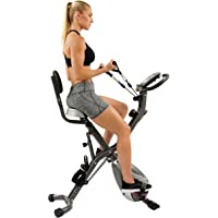Sunny Health & Fitness Foldable Semi Recumbent Magnetic Upright Exercise Bike w/Pulse Rate Monitoring, Adjustable Arm Resistance Bands LCD Monitor - SF-B2710