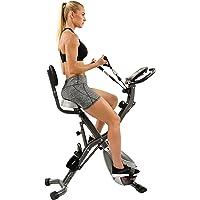 Sunny Health & Fitness Bicicleta para Ejercicio Vertical Semi Reclinada Plegable c/Seguimiento de Frecuencia Cardíaca, Bandas de Resistencia Ajustables a los Brazos y Monitor LCD - SF-B2710 de