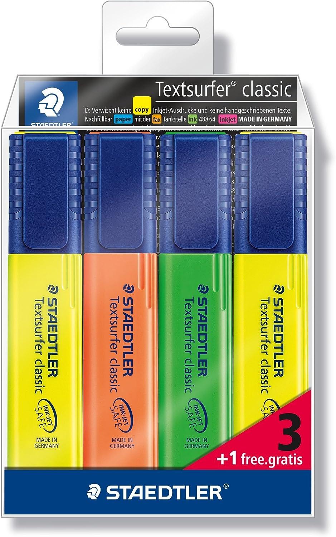 Staedtler Textsurfer Classic 364-S WP4P - Estuche promocional con 3 marcadores fluorescentes en colores surtidos + 1 marcador fluorescente color amarillo, Multicolor
