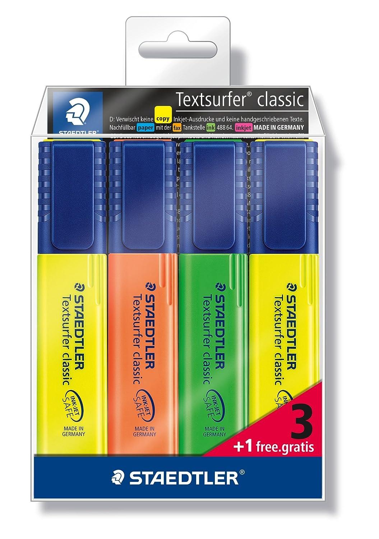 evidenziatori classici in custodia da 3+1 Staedtler 364-S WP4P confezione da 4 pezzi in plastica morbida