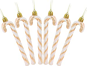 Christmas Concepts Pack of 6-13cm Glitter Candy Cane Christmas Tree Decorations (Rose Gold & White)