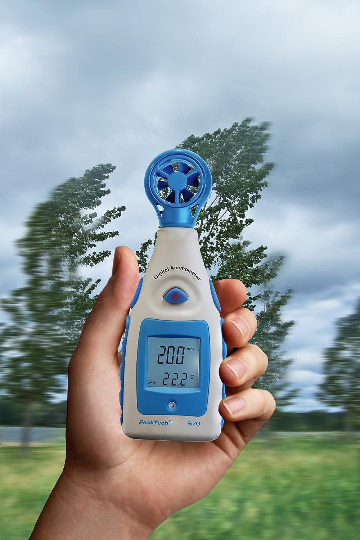 P 5170 Wind Medidor de velocidad del viento en nodos y Wind Chill con medici/ón de temperatura adicional 1/pieza PeakTech impulsor Anem/ómetro Digital