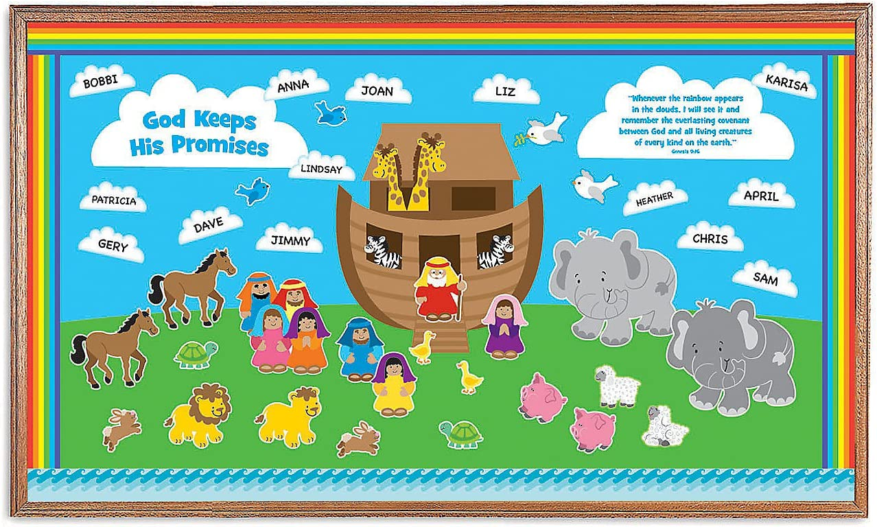 Noah's Ark Bulletin Board Set (91 Pieces) Sunday School Decor and Classroom Supplies