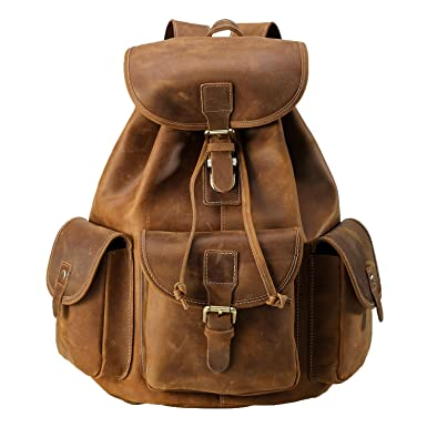 Amazon.com: Polare Thick Genuine Leather Backpack Vintage College ...