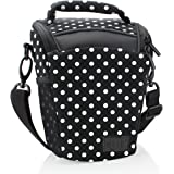 DSLR Camera Case Bag with Top Loading Accesibility , Shoulder Sling and Weather Resistant Bottom by USA Gear - Works With Canon , Nikon , Sony , Pentax and More - Polka Dot
