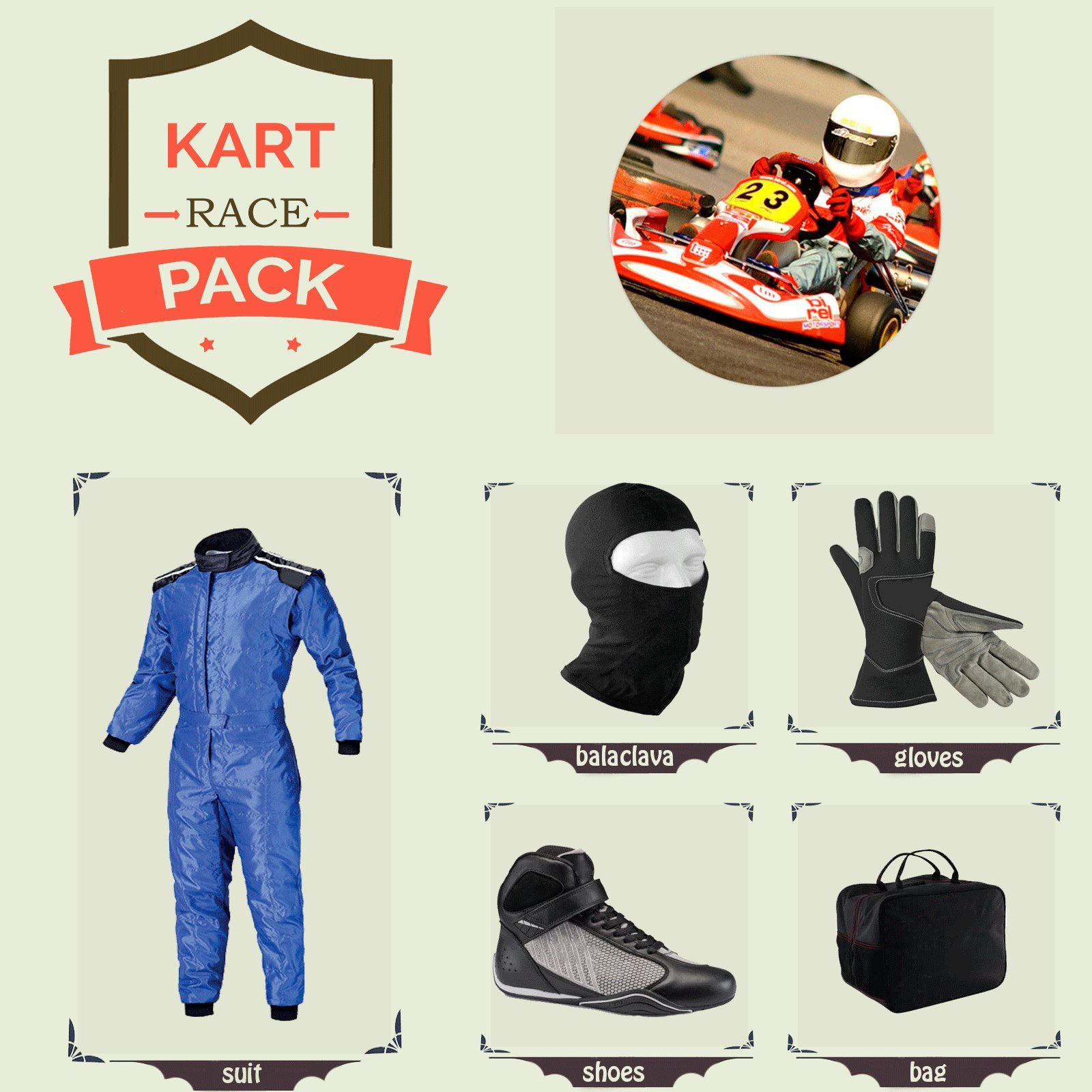 Sports Blue Go Kart Racing Suit Suit,Gloves,Balaclava and Shoes free bag - Blue Lining Drees With Black Style