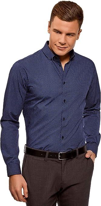 oodji Ultra Hombre Camisa de Algodón con Decoración Gráfica Pequeña: Amazon.es: Ropa y accesorios