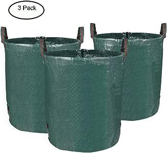 MVPower Bolsas de Basura de Jardín, Set de 3pcs x 272L, Gran Capacidad, de PE Material, Plegable, Resistente a la Corrosión y al Daño, para Hojas Plantas Podadas etc.: Amazon.es: Jardín